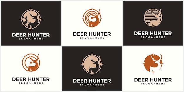 Szablon projektu logo łowcy jeleni głowa jelenia sylwetka wektor klub łowiecki polowanie na jelenie