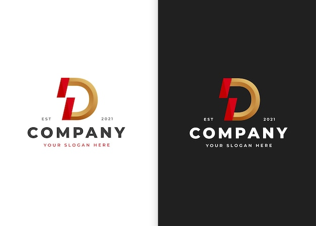 Szablon projektu logo luksus litera d. ilustracje wektorowe