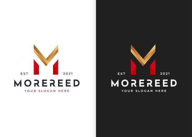 Szablon projektu logo luksusowe litery m. ilustracje wektorowe