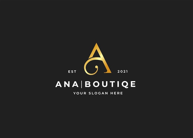 Szablon projektu logo luksusowego butiku litera a