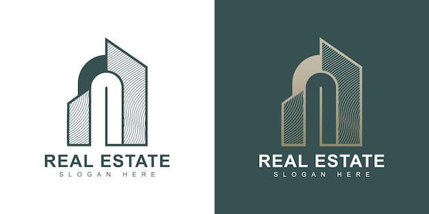 Szablon projektu logo luksusowej nieruchomości złota