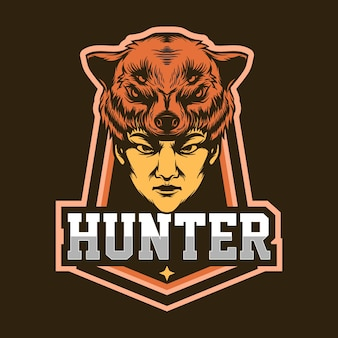 Szablon projektu logo maskotka hunter