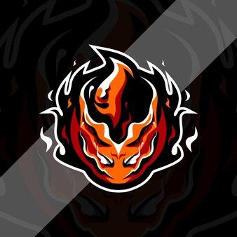 Szablon projektu logo maskotka ognista piłka