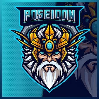 Szablon projektu logo maskotki poseidon king esport
