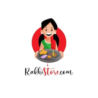 Szablon projektu logo maskotki sklepu rakhi