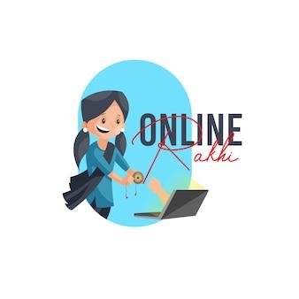 Szablon projektu logo maskotki wektor online rakhi