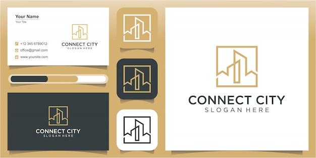 Szablon projektu logo miasta i sztuki linii, szablon projektu logo budowy