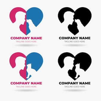 Szablon projektu logo miłości dla zwierząt domowych zestaw wektor premium