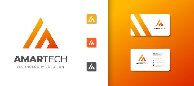 Szablon projektu logo monogram litery a z projektem wizytówki