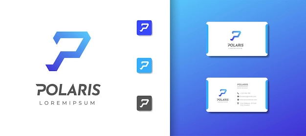 Szablon projektu logo monogram litery p z projektem wizytówki