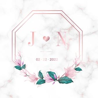 Szablon projektu logo monogram wesele. akwarela kwiatowy ramki do projektowania kart zaproszenie.
