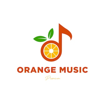 Szablon projektu logo muzycznego uwaga muzyka z kreatywnym wektorem logo pomarańczowego owocu