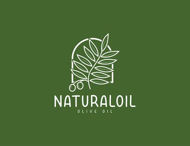 Szablon projektu logo naturalnej oliwy z oliwek i liści