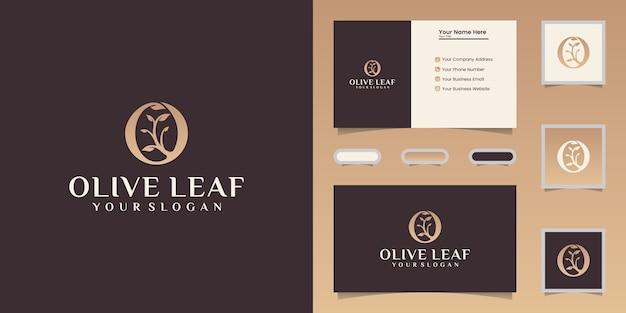 Szablon projektu logo oliwy z oliwek i liści i wizytówki