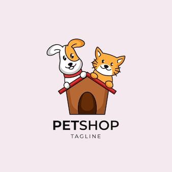 Szablon projektu logo pielęgnacji sklepu zoologicznego