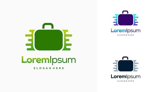 Szablon projektu logo pixel suitcase, projekty logo walizki z ilustracją wektorową technology symbol