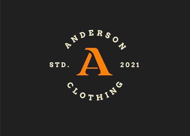 Szablon projektu logo początkowe litery a, styl vintage, ilustracje wektorowe