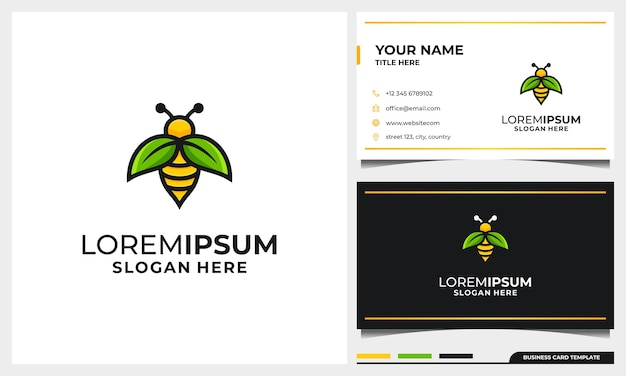 Szablon projektu logo pszczoły miodnej z koncepcją liścia skrzydła natury i szablonem wizytówki