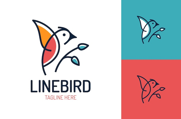 Szablon projektu logo ptak na białym tle