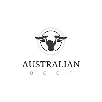 Szablon projektu logo retro vintage australian beef emblem label