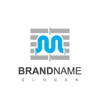 Szablon projektu logo rury litery m dla symbolu firmy wodno-kanalizacyjnej