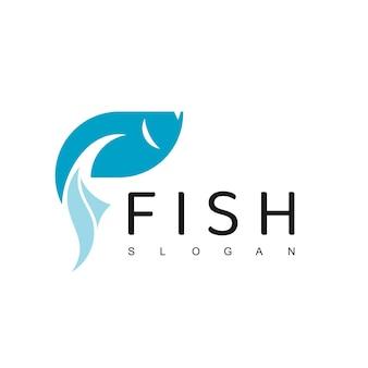 Szablon projektu logo ryb, logotyp restauracji z owocami morza, ikona hodowli ryb