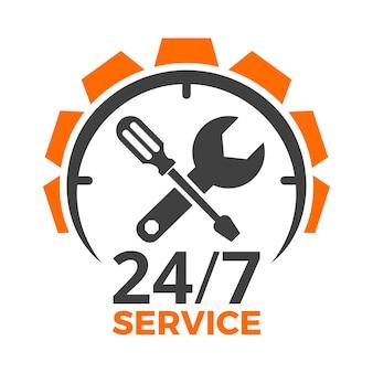 Szablon projektu logo serwisu samochodowego z 24h, przekładnią, śrubokrętem i kluczem. naprawa, konserwacja, pomoc, usługi części zamiennych. ilustracja wektorowa na białym tle