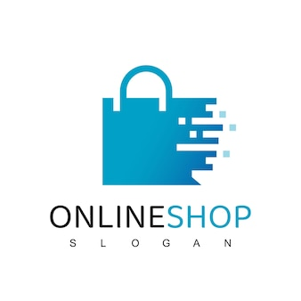 Szablon projektu logo sklepu internetowego. torba na zakupy wektor wzór. symbol rynku cyfrowego