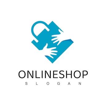 Szablon projektu logo sklepu internetowego. torba na zakupy z ręka wektora projektu. symbol rynku cyfrowego