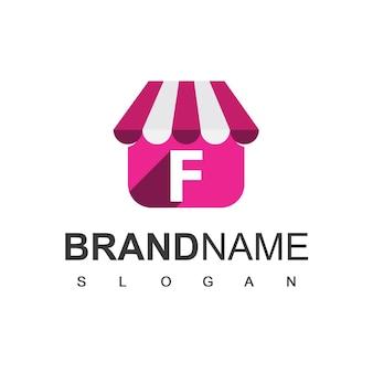 Szablon projektu logo sklepu litera f, symbol sklepu internetowego.