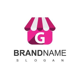 Szablon projektu logo sklepu litera g, symbol sklepu internetowego.