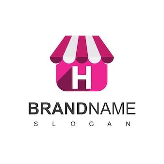 Szablon projektu logo sklepu litera h, symbol sklepu internetowego.