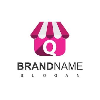 Szablon projektu logo sklepu litera q, sklep internetowy symbol.