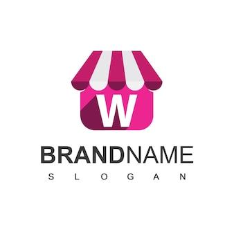 Szablon projektu logo sklepu litera w, sklep internetowy symbol.