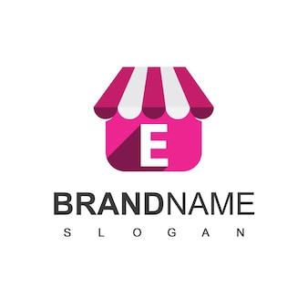 Szablon projektu logo sklepu litery e, symbol sklepu internetowego.