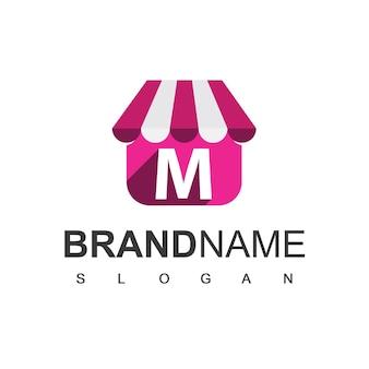 Szablon projektu logo sklepu litery m, symbol sklepu internetowego.