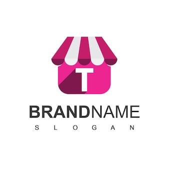 Szablon projektu logo sklepu litery t, symbol sklepu internetowego.
