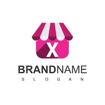 Szablon projektu logo sklepu litery x, symbol sklepu internetowego.