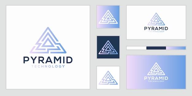 Szablon projektu logo streszczenie piramidy. symbol kreatywnego biznesu.