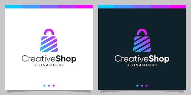 Szablon projektu logo streszczenie torba na zakupy. wektor premium