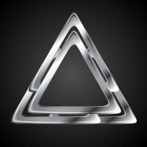 Szablon projektu logo streszczenie trójkąt metaliczny. tło wektor