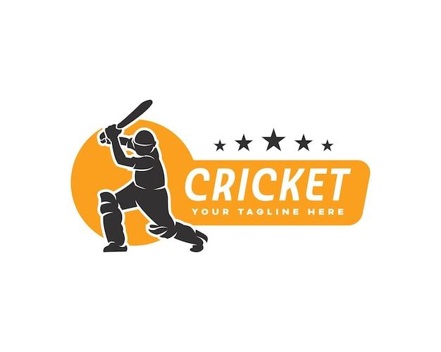 Szablon projektu logo sylwetka gracza krykieta