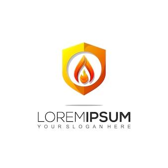 Szablon projektu logo tarcza ognia