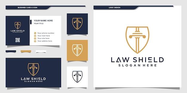 Szablon projektu logo tarcza prawa z nowoczesną koncepcją i projektem karty biznesowej premium wektor