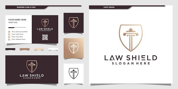 Szablon projektu logo tarcza prawa z unikalnymi złotymi kolorami gradientu premium wektor