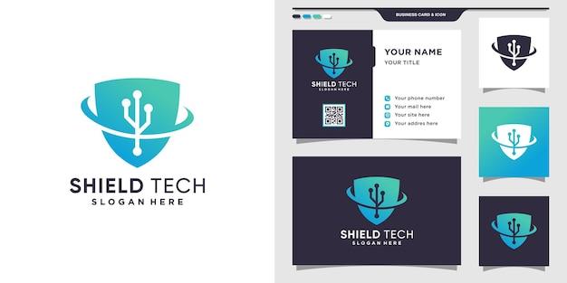Szablon projektu logo tarczy dla technologii z kreatywną koncepcją i projektowaniem wizytówek.