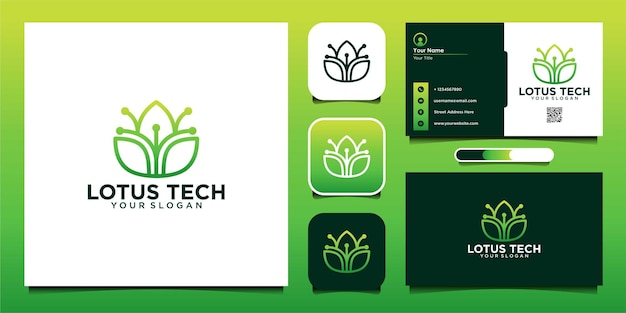 Szablon projektu logo technologii lotosu i wizytówka premium vector