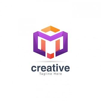 Szablon projektu logo tętniącego życiem kreatywnych litera m.
