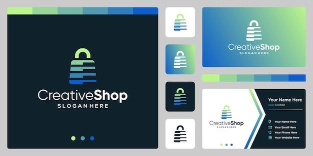 Szablon projektu logo torba na zakupy streszczenie i szablon projektu wizytówki. wektor premium