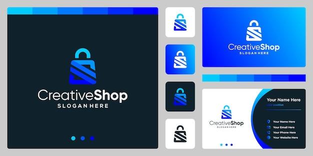 Szablon projektu logo torba na zakupy streszczenie symbolem litery s. projekt wizytówki.